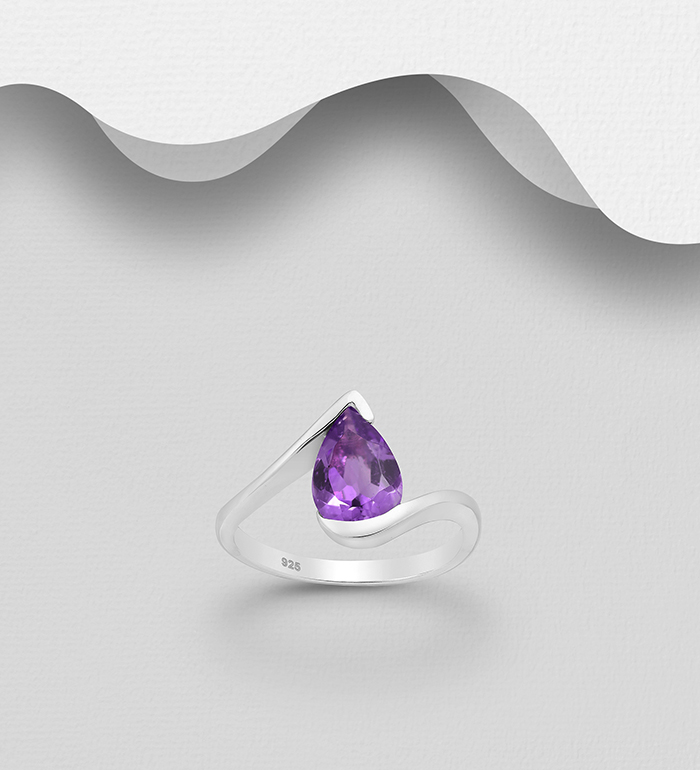 1181-3876 - La Preciada - 925 Sterling Silver Solitaire Ring, Decorated with Pear-Shaped Amethyst or Smoky Quartz