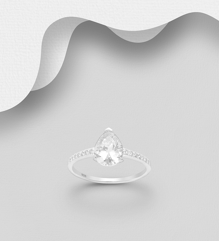 701-24431 - 925 Sterling Silver Droplet Ring, Decorated with CZ Simulated Diamonds