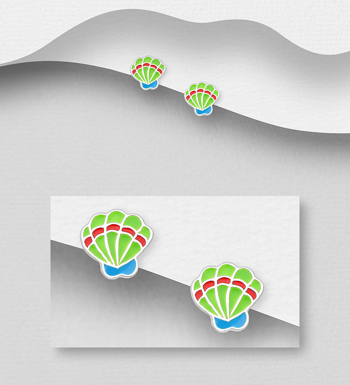 1068-1791 - 925 Sterling Silver Shell Push-Back Earrings, Decorated With Colored Enamel