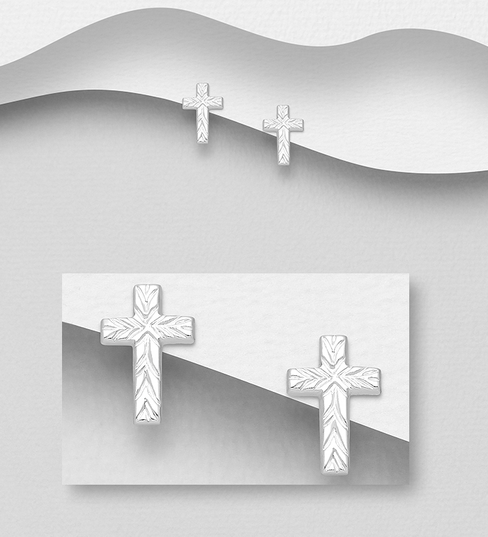 706-31936 - 925 Sterling Silver Textured Cross Push-Back Earrings