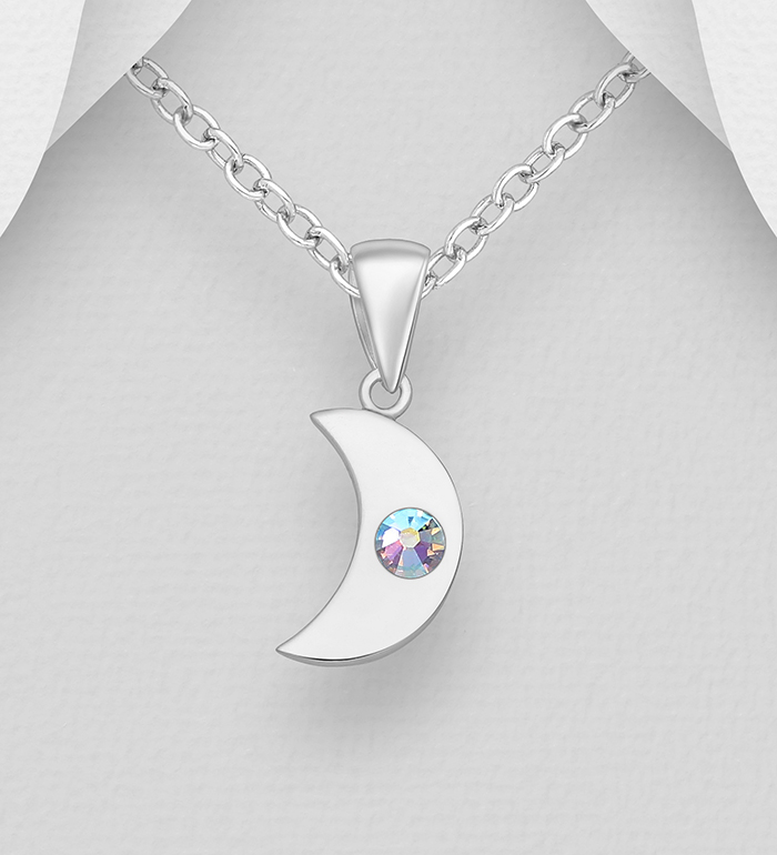 1583-517 - Sparkle by 7K - 925 Sterling Silver Moon Pendant, Decorated with Various Authentic Swarovski<sup>®</sup> Crystal