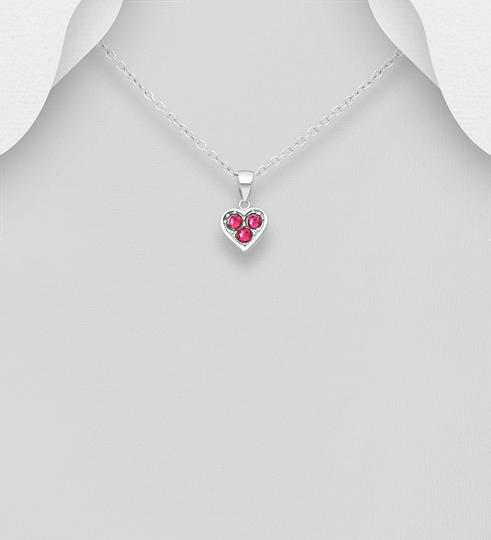 1583-521 - Sparkle by 7K - 925 Sterling Silver Heart Pendant, Decorated with Various Authentic Swarovski<sup>®</sup> Crystal