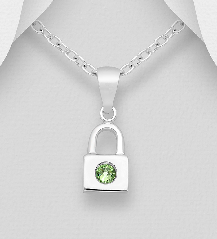 1583-522 - Sparkle by 7K - 925 Sterling Silver Lock Pendant, Decorated with Various Authentic Swarovski<sup>®</sup> Crystal