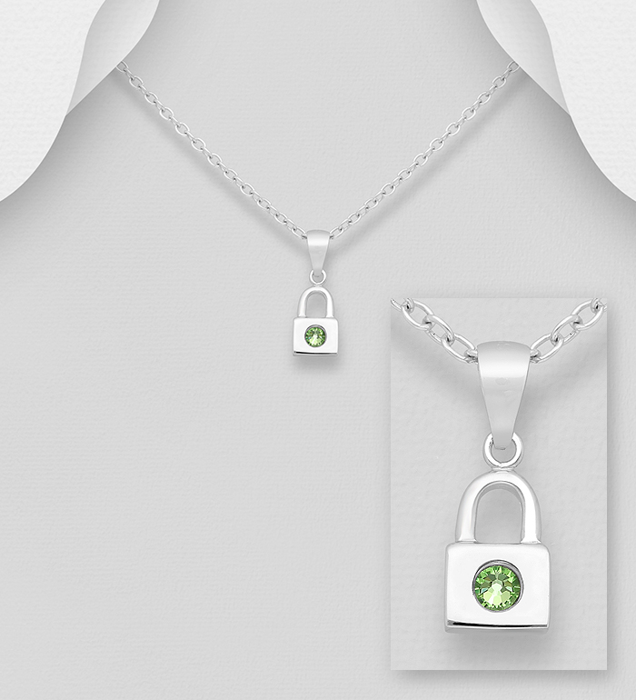 1583-522 - Sparkle by 7K - 925 Sterling Silver Lock Pendant, Decorated with Various Verifiable Authentic Swarovski<sup>®</sup> Crystal