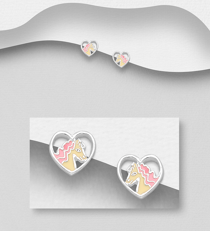 1068-1795 - 925 Sterling Silver Heart and Horse Push-Back Earrings, Decorated with Colored Enamel