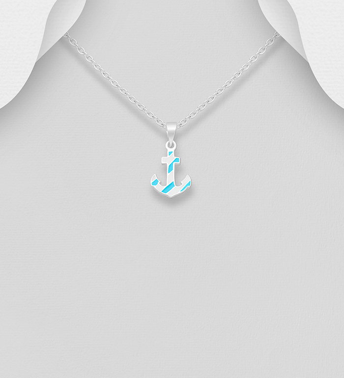 706-31942 - 925 Sterling Silver Anchor Pendant, Decorated with Colored Enamel
