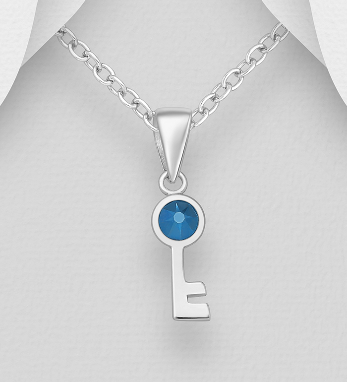 1583-525 - Sparkle by 7K - 925 Sterling Silver Key Pendant, Decorated with Various Authentic Swarovski<sup>®</sup> Crystal