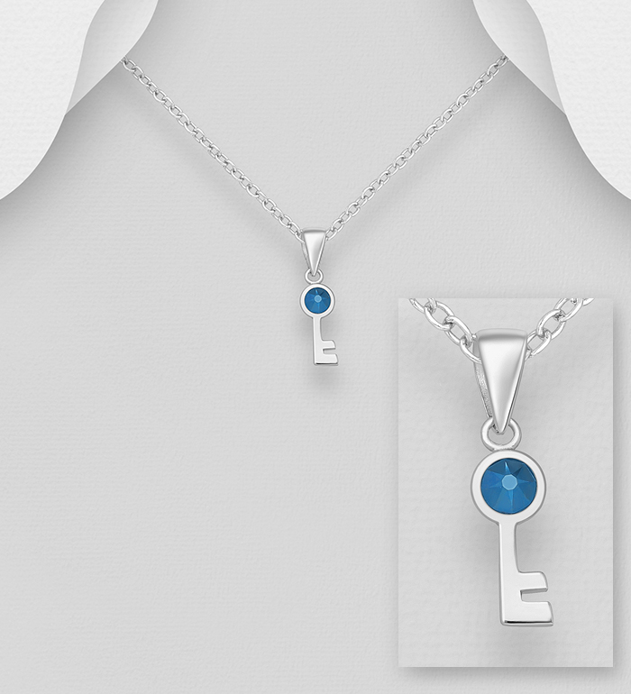 1583-525 - Sparkle by 7K - 925 Sterling Silver Key Pendant, Decorated with Various Verifiable Authentic Swarovski<sup>®</sup> Crystal