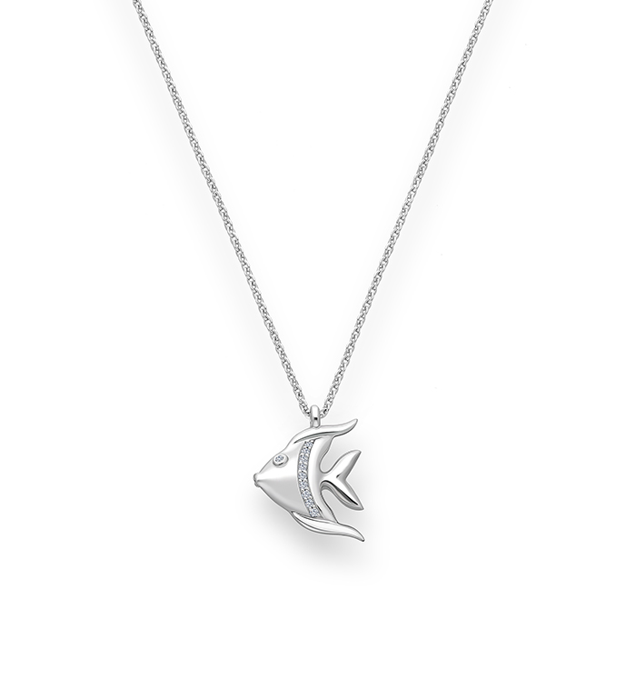 33-0111 - Angel Fish in 18K White Gold, Decorated with Diamonds