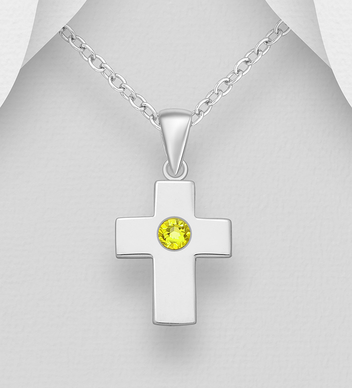 1583-534 - Sparkle by 7K - 925 Sterling Silver Cross Pendant, Decorated with Various Authentic Swarovski<sup>®</sup> Crystal