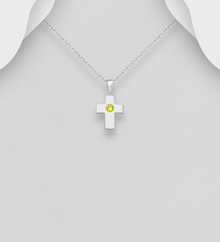 1583-534 - Sparkle by 7K - 925 Sterling Silver Cross Pendant, Decorated with Various Verifiable Authentic Swarovski<sup>®</sup> Crystal