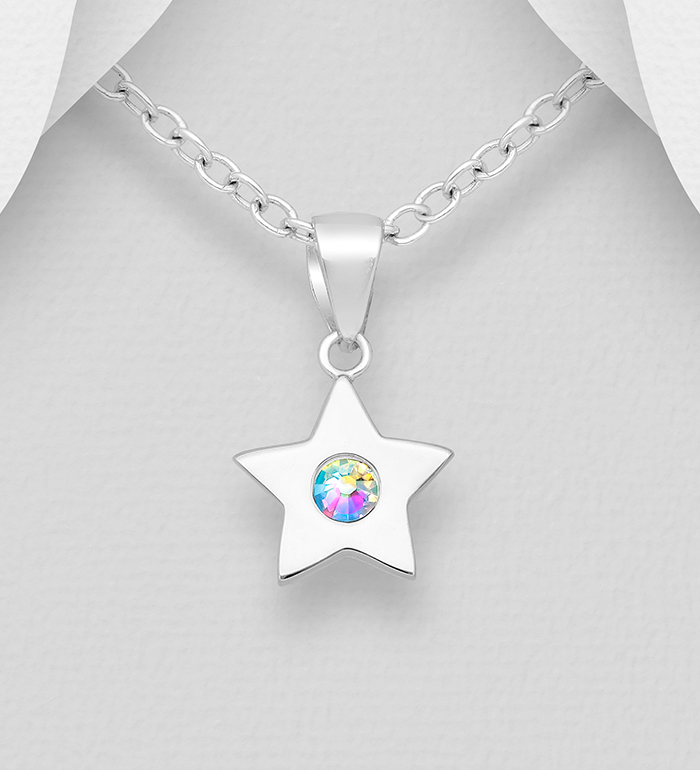 1583-538 - Sparkle by 7K - 925 Sterling Silver Star Pendant, Decorated with Various Authentic Swarovski<sup>®</sup> Crystals