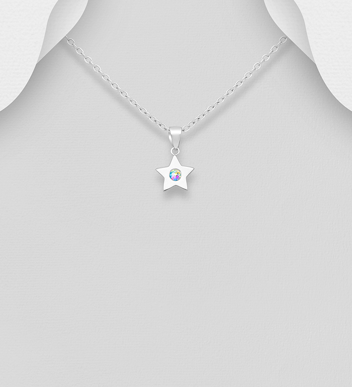 1583-538 - Sparkle by 7K - 925 Sterling Silver Star Pendant, Decorated with Various Verifiable Authentic Swarovski<sup>®</sup> Crystals