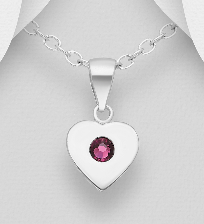 1583-540 - Sparkle by 7K - 925 Sterling Silver Heart Pendant, Decorated with Various Authentic Swarovski<sup>®</sup> Crystals
