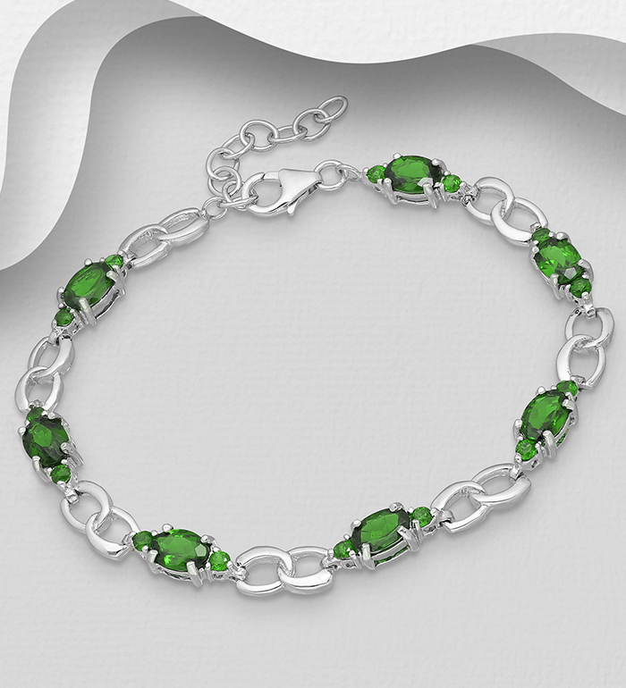 1181-3921 - La Preciada - 925 Sterling Silver Bracelet, Decorated with Chrome Diopside
