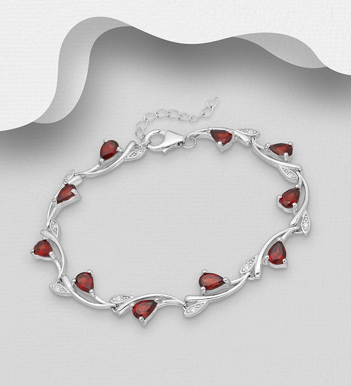 1181-3922 - La Preciada - 925 Sterling Silver Branch Bracelet, Decorated with CZ simulated Diamonds and Garnet