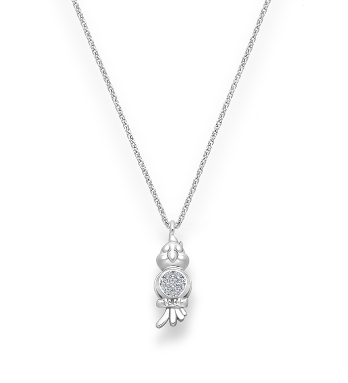 33-0114 - Parrot Necklace in 18K White Gold, Decorated with Diamonds