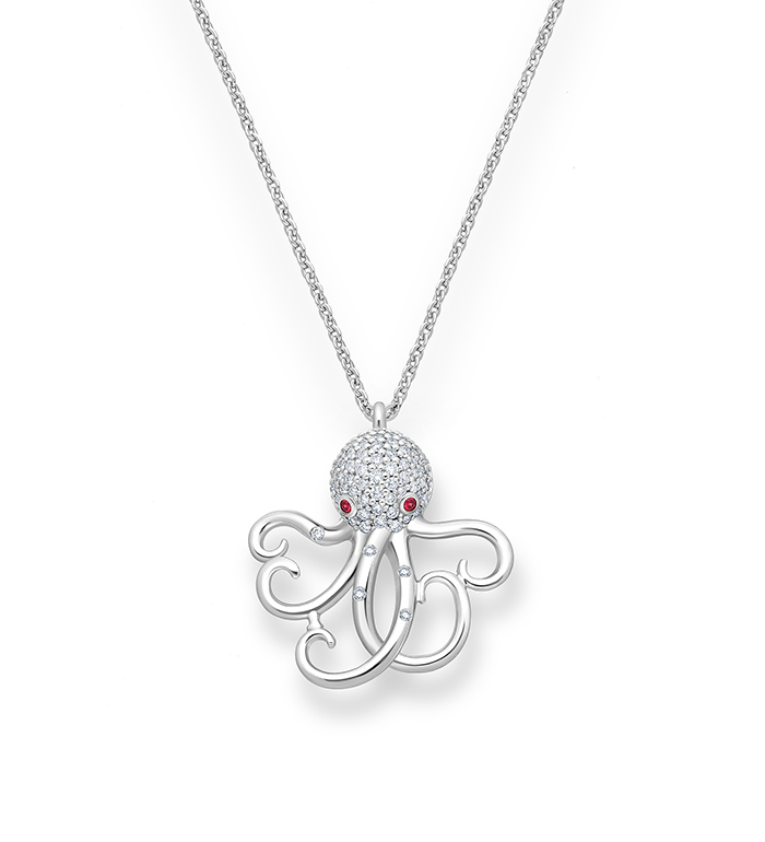33-0117 - Octopus Necklace in 18K White Gold, Decorated with Ruby and Diamonds