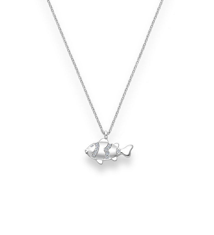 33-0113 - Clown Fish Necklace in 18K White Gold, Decorated with Diamonds