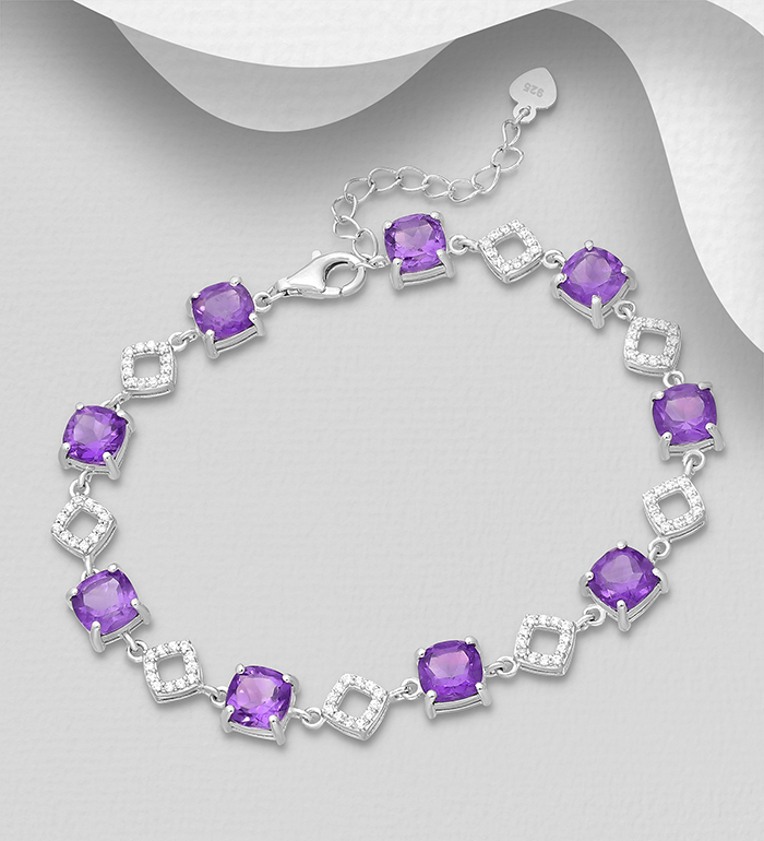 1181-3935 - La Preciada - 925 Sterling Silver Bracelet, Decorated with CZ Simulated Diamonds and Amethyst