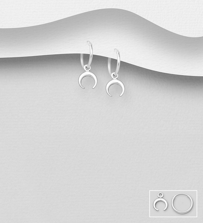 706-32040 - 925 Sterling Silver Horn Hoop Earrings