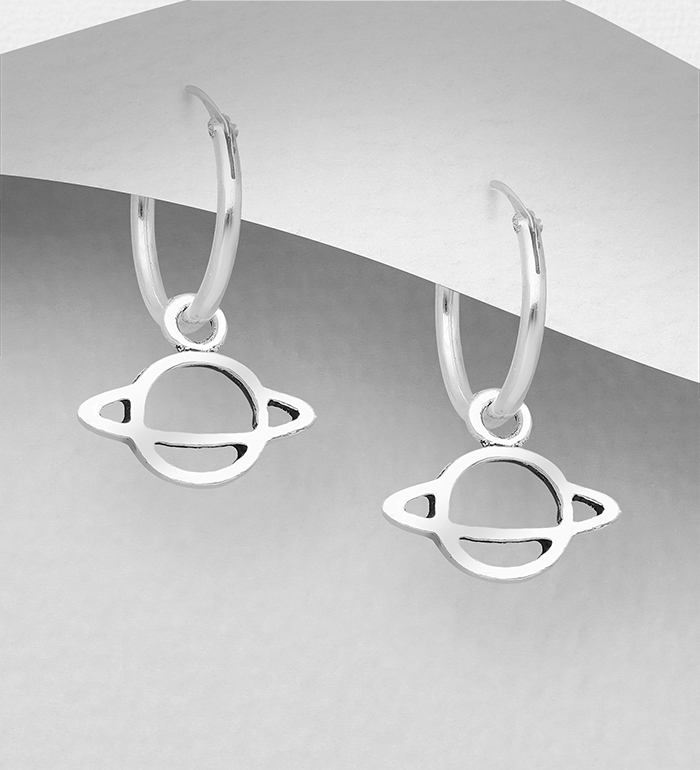 706-32041 - 925 Sterling Silver Saturn Hoop Earrings