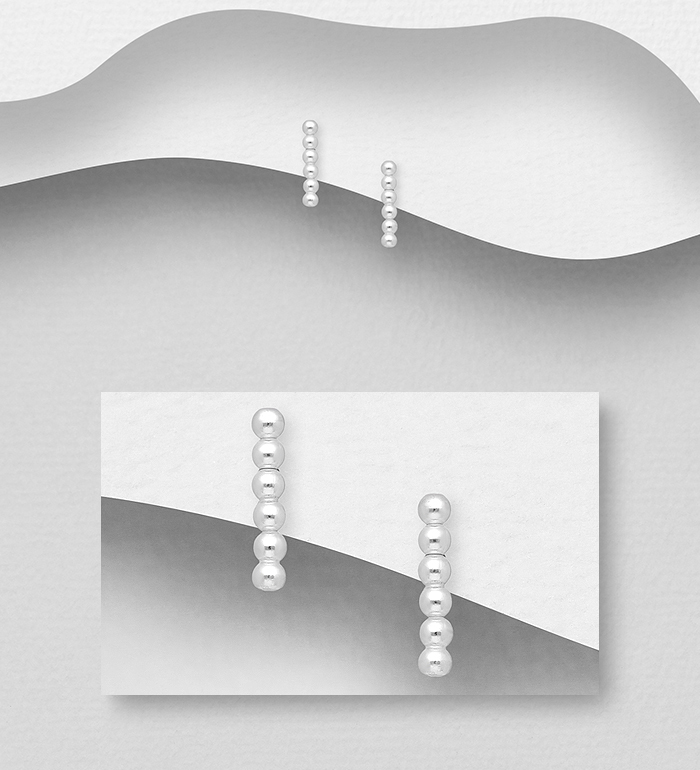 706-32046 - 925 Sterling Silver Ball Push-Back Earrings