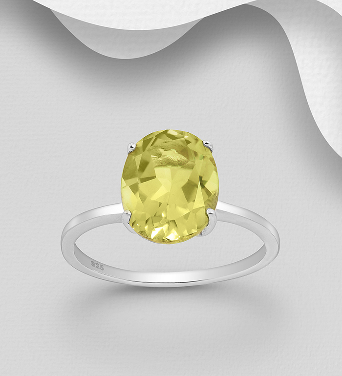 1181-3939 - La Preciada - 925 Sterling Silver Solitaire Ring, Decorated with Lemon Quartz