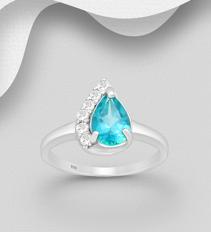 1181-3946 - La Preciada - 925 Sterling Silver Pear-Shaped Ring, Decorated with White and Paraiba Topaz