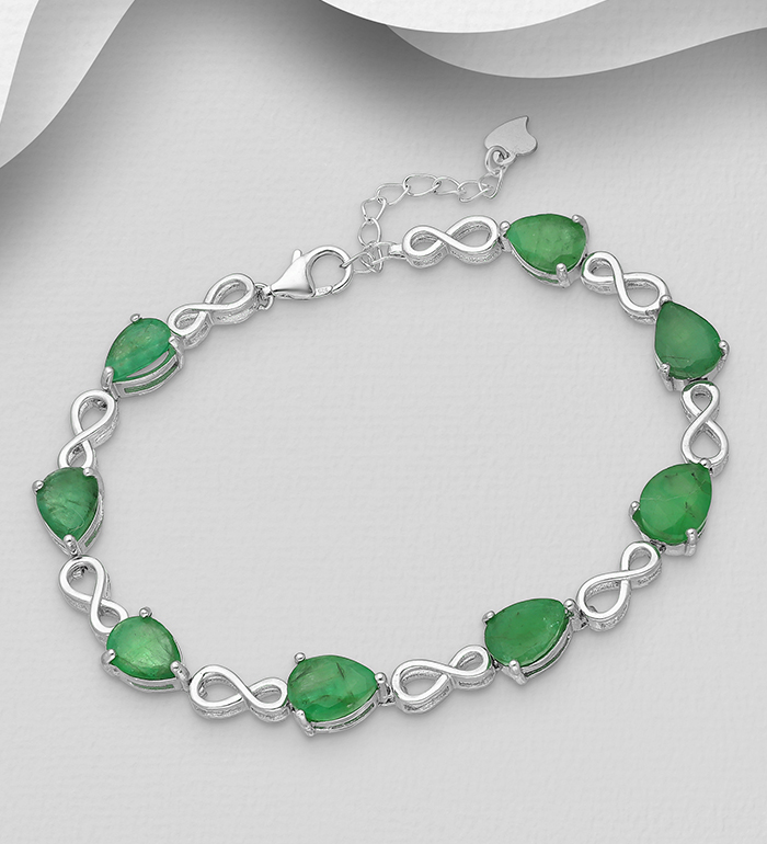 1181-3947 - La Preciada - 925 Sterling Silver Infinity Bracelet, Decorated with Emerald