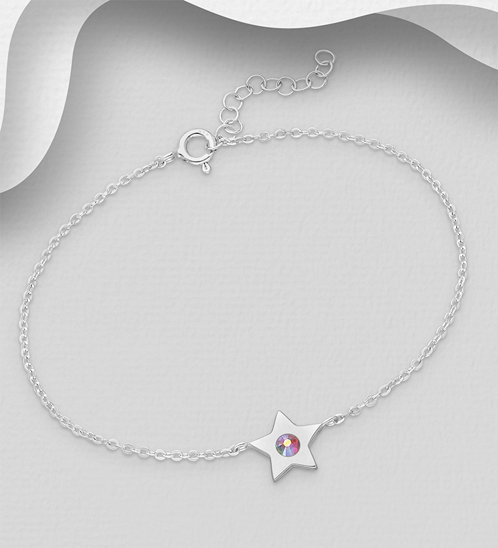 1583-549 - Sparkle by 7K - 925 Sterling Silver Star Bracelet, Decorated with Various Authentic Swarovski<sup>®</sup> Crystals