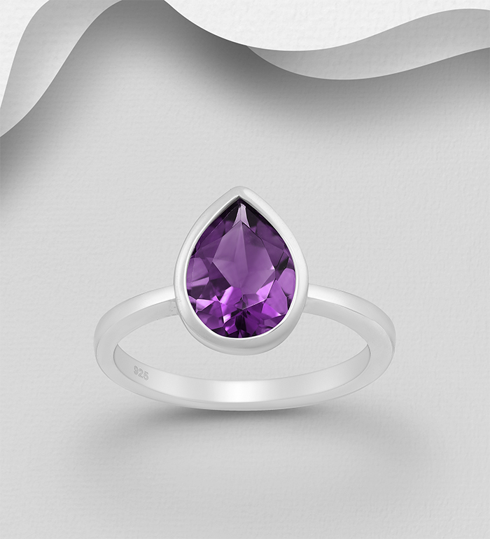 1181-3957 - La Preciada - 925 Sterling Silver Solitaire Droplet Ring, Decorated with Amethyst
