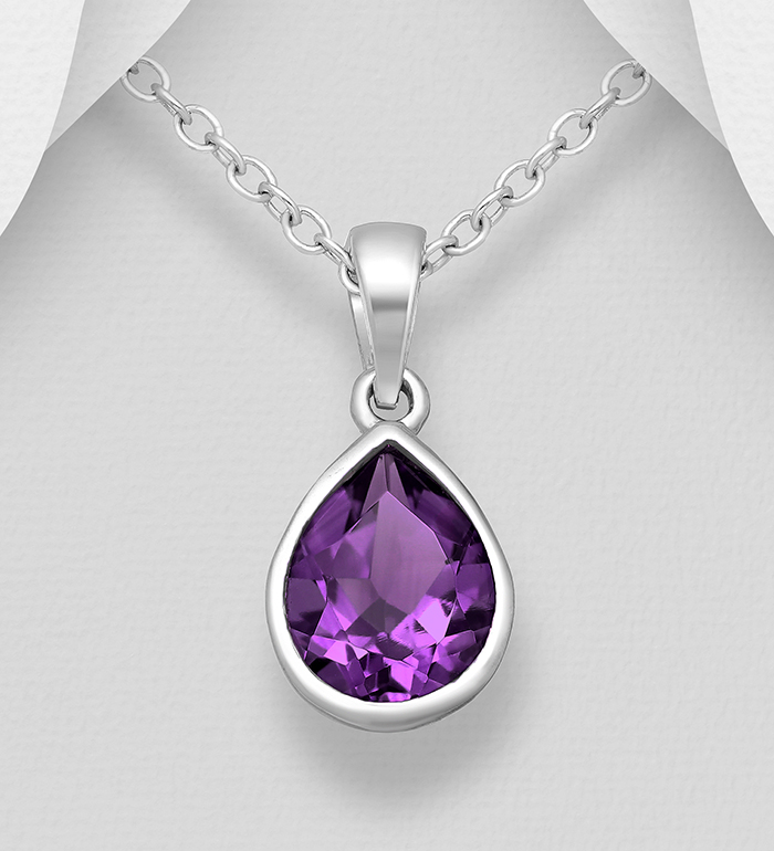 1181-3958 - La Preciada - 925 Sterling Silver Droplet Solitaire Pendant, Decorated with Amethyst
