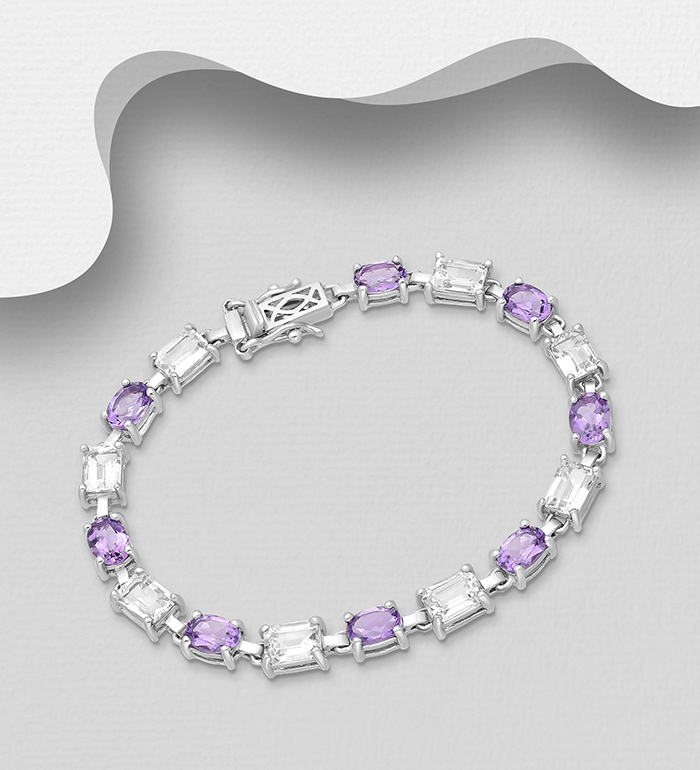 1181-3959 - La Preciada - 925 Sterling Silver Bracelet, Decorated with Amethyst and White Topaz
