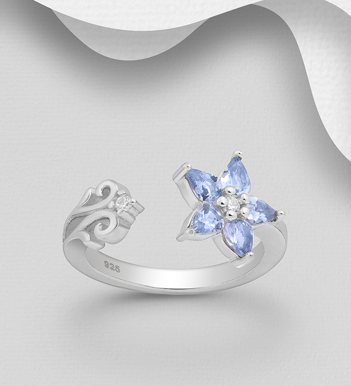 1181-3963 - La Preciada - 925 Sterling Silver Adjustable Flower Ring, Decorated with CZ Simulated Diamonds and Tanzanite