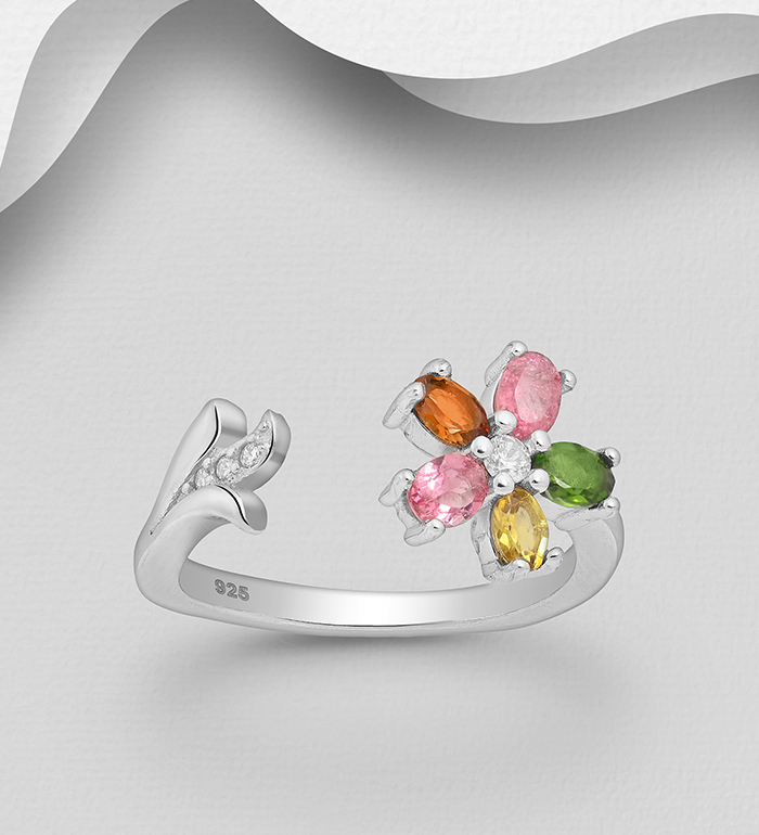 1181-3964 - La Preciada - 925 Sterling Silver Open Flower Ring, Decorated with CZ Simulated Diamonds and Colorful Tourmaline
