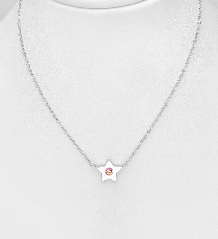 1583-554 - Sparkle by 7K - 925 Sterling Silver Star Necklace, Decorated with Various Authentic Swarovski<sup>®</sup> Crystals