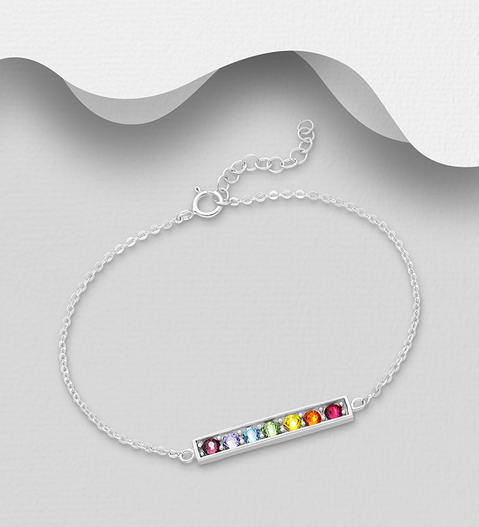 1583-556 - Sparkle by 7K - 925 Sterling Silver Bar Bracelet, Decorated with Various Colors Authentic Swarovski<sup>®</sup> Crystal