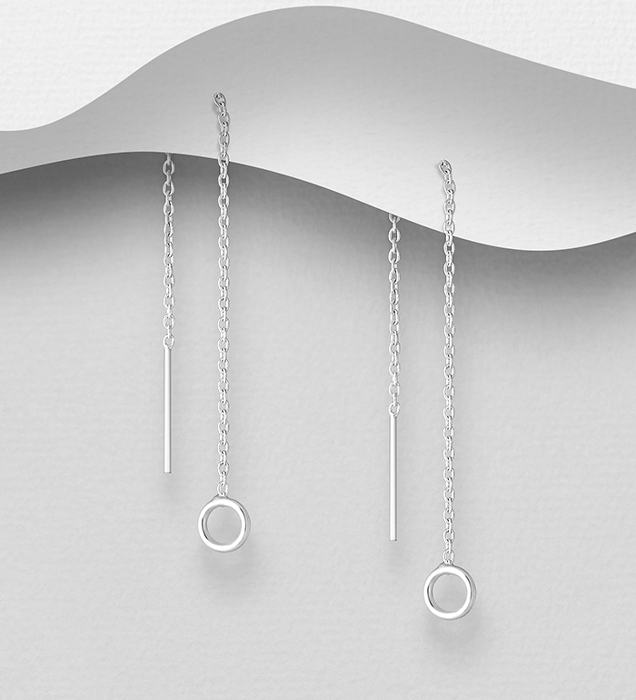 706-32188 - 925 Sterling Silver Circle Threader Earrings