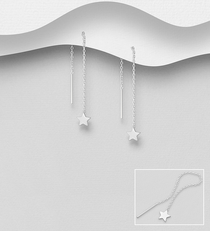 706-32191 - 925 Sterling Silver Star Threader Earrings