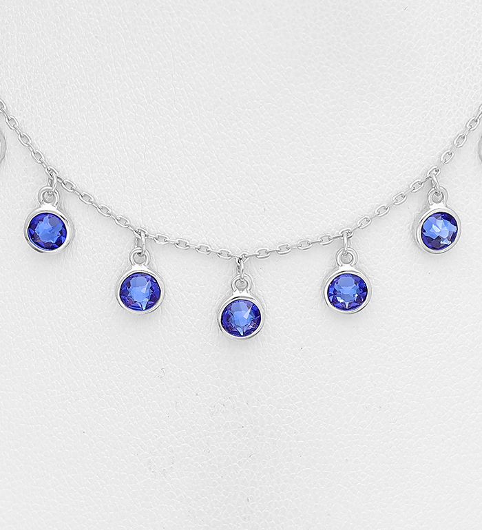 1583-474A - Sparkle by 7K - 925 Sterling Silver Necklace, Decorated with Various Verifiable Authentic Swarovski<sup>®</sup> Crystals