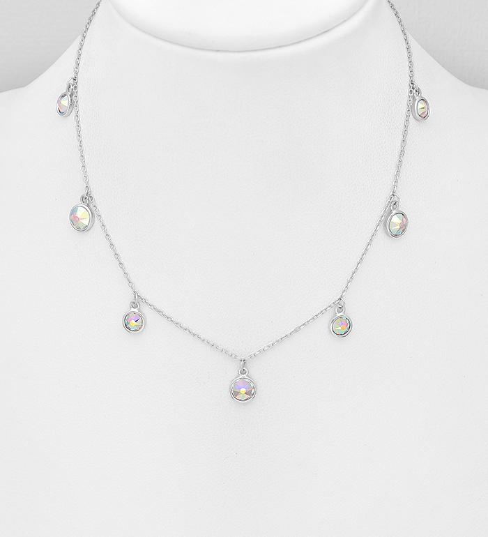 1583-559 - Sparkle by 7K - 925 Sterling Silver Necklace, Decorated with Various Authentic Swarovski<sup>®</sup> Crystals