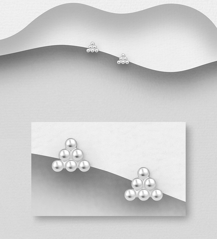 706-32311 - 925 Sterling Silver Ball Push-Back Earrings