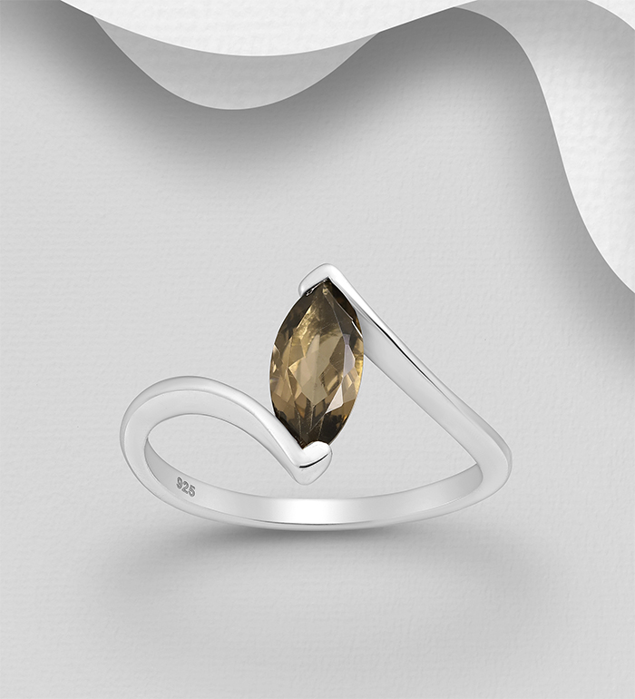 1181-3764C - La Preciada - 925 Sterling Silver Solitaire Ring, Decorated with Smoky Topaz