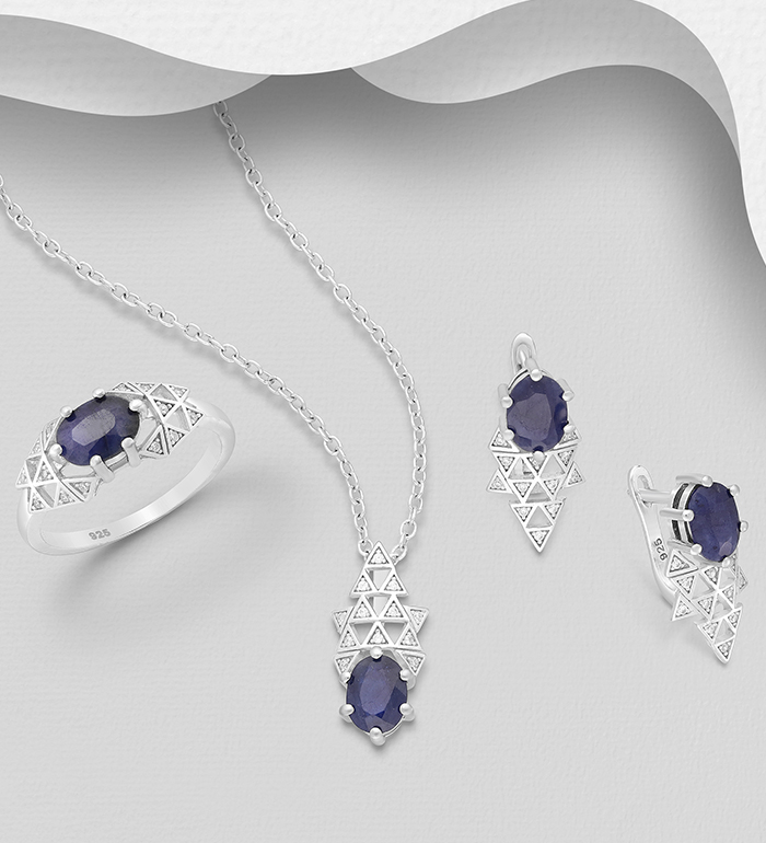 1181-3977 - La Preciada - 925 Sterling Silver Omega Lock Earrings, Pendant and Ring Jewelry Set, Decorated with CZ Simulated Diamonds and Various Gemstones