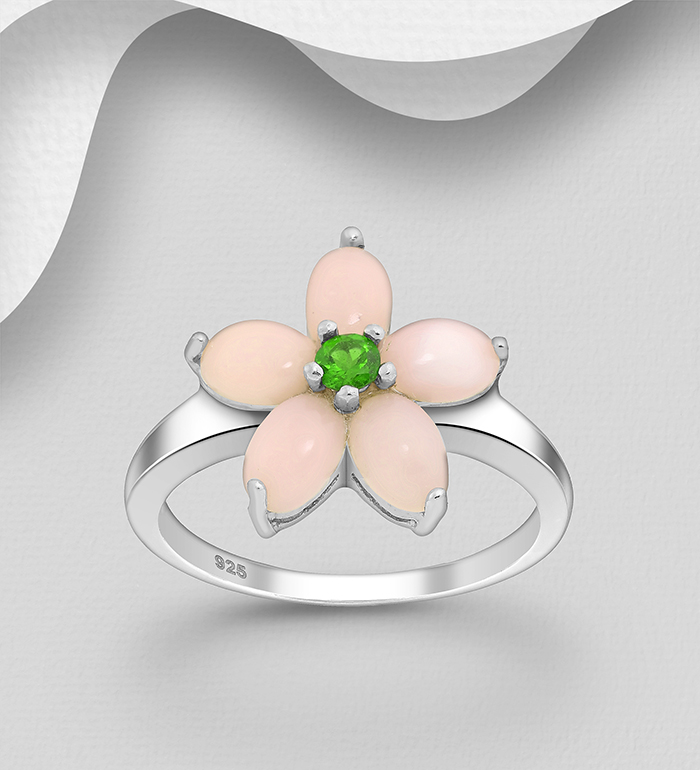 1181-3997 - La Preciada - 925 Sterling Silver Flower Ring, Decorated with Tsavorite and Pink Opals