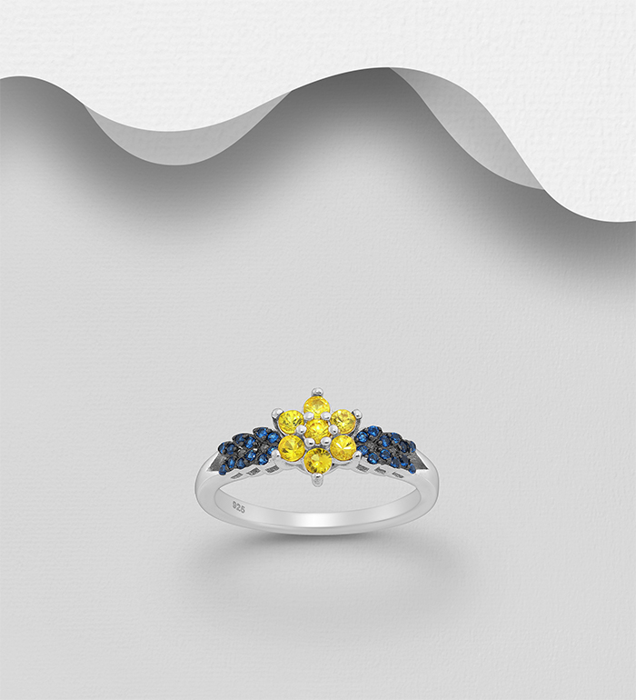 1181-3998 - La Preciada - 925 Sterling Silver Flower Ring, Decorated with Yellow Sapphire and CZ Simulated Diamonds
