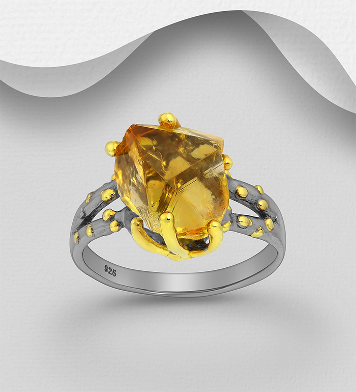 1916-229 - ADIORE JEWELS - 925 Sterling Silver Ring, Decorated with Citrine, Plated with 3 Micron 22K Yellow Gold and Grey Ruthenium
