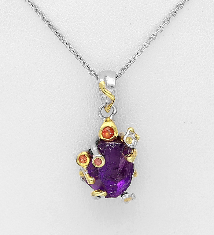 1916-231 - ADIORE JEWELS - 925 Sterling Silver Necklace, Decorated with Amethyst and Orange Sapphire, Plated with 3 Micron 22K Yellow Gold and White Rhodium