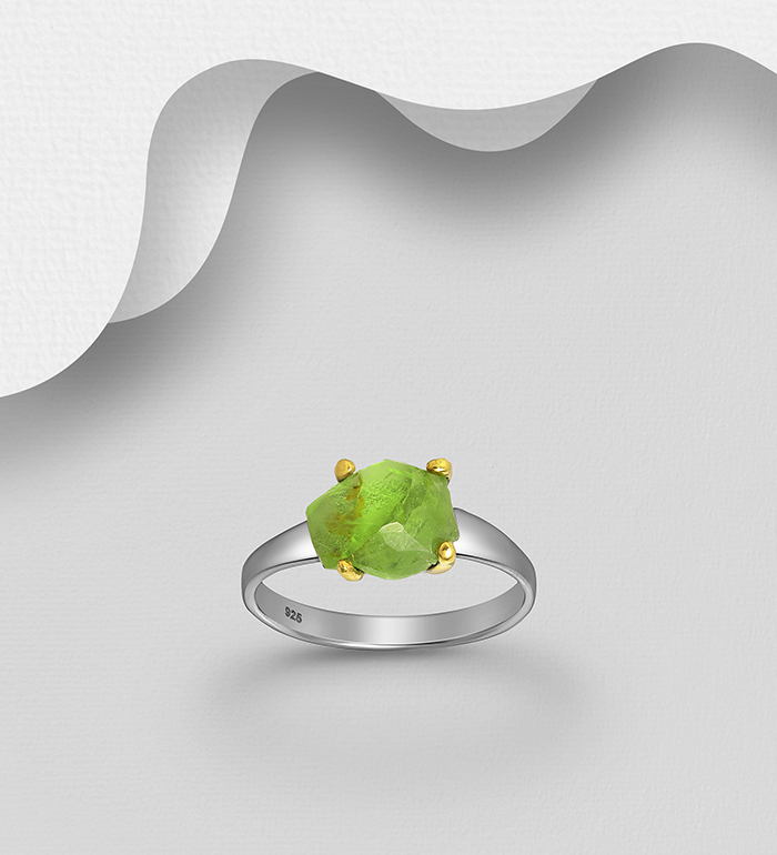 1916-233 - ADIORE JEWELS - 925 Sterling Silver Ring, Decorated with Peridot, Plated with 3 Micron 22K Yellow Gold and Black Rhodium